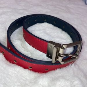 Blue and Red reversible belt